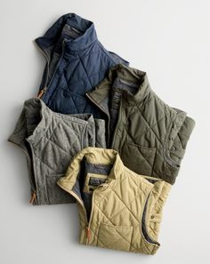 Our best-selling J.Crew men's Sussex quilted vests. Our Primaloft®-filled vests are a team favorite.