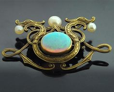 belaquadros:    Opal Art Nouveau Dragon Brooch - Yellow Gold with Opal and Pearls
