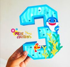 Custom Starbucks Cup, 3d Letters, Shark Party, Baby Shark, Cake Toppers, Diana, 3 D, Crafts For Kids, Centerpieces