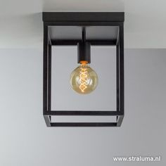 Zwarte plafondlamp frame vierkant - www.straluma.nl