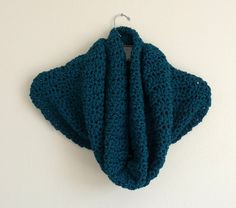 Oversized Teal Eleganza Cowl Oversized Crochet Cowl by FabricMuse, $48.00