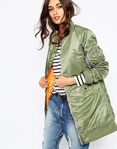 Image 1 of Alpha Industries Ma1 Long Line Bomber Jacket With Contrast Lining