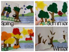 No Sew - Hot Glue ONLY quiet book - outdoor/seasons page. This is genius!