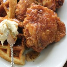 Recipe #16: Fried Chicken and Buttermilk Waffles with Black Pepper Maple Syrup and Vanilla Butter -- This recipe is based on a killer version of chicken and waffles that is served at Emeril's Restaurant in New Orleans. #Emerils25