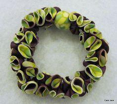 Purple and green ruffle bracelet