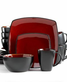 Signature Living Dinnerware, Barcelona Red 16 Piece Set - Casual Dining - Kitchen - Macy's Another Option Red Kitchen Decor, Shabby Chic Kitchen, New Kitchen, Kitchen Reno, Kitchen Colors, Rustic Kitchen, Kitchen Ideas, Kitchen Design, Casual Dinnerware