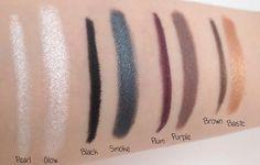 Pearl/Glow (#81101), Black/Smoke (#81102), Plum/Purple (#81105), Brown/ Basic (#81103) http://www.eyeslipsface.fr/produit-beaute/stick-eyeliner-et-ombre-a-paupieres