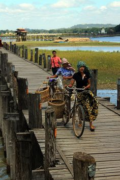 U Bein Bridge is a crossing that spans the Taungthaman Lake near Amarapura in Myanmar. The 1.2-kilometre (0.75 mi) bridge was built around 1850 and is believed to be the oldest and longest teakwood bridge in the world.
