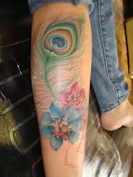 peacock feather flower tattoos - Google Search