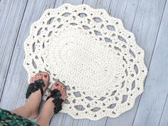 Pick your Color/ Cotton Oval Lace Thick Doily Kitchen or Bath Rug Crocheted in Dark Taupe, Red or Ecru Cream Size Medium. $46.00, via Etsy.