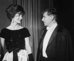 Conductor Leonard Bernstein with Mrs. John F. Kennedy at the opening of the Lincoln Center Philharmonic Hall, 1962.