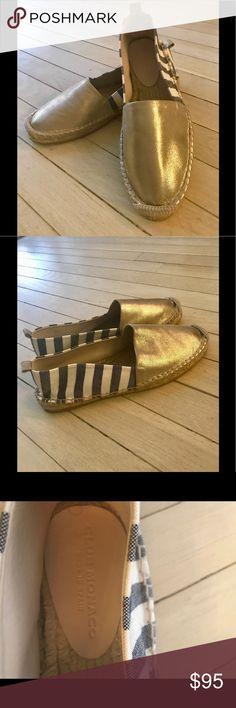 Club Monaco Espadrilles , Sz 38.5 Never worn Club Monaco gold/black&white striped Sz 38.5 espadrilles.Leather & cotton, perfect easy slip on.  Model: Ryan. Made in Spain. Club Monaco Shoes Espadrilles