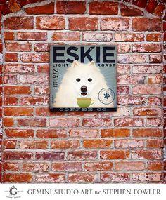 American Eskimo Eskie Dog Coffee company illustration on stretched canvas 12 x 12 by Stephen Fowler