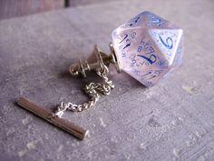 D20 dice tie pin gamers wedding accessory business wear geek rpg elf runes elvish polyhedral dice