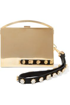 Eddie Borgo - Lou Embellished Leather-trimmed Gold-tone Clutch - Metallic - one size