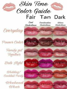 Which LipSense Color is right for me? Check out this guide to see which LipSense Lipstick is right for warm, neutral or cool undertones and Fair, tan, or dark skin tones. #lipcolorsfall #lipcolorsguide #lipcolorsforfairskin