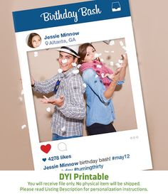 Instagram Frame DYI / Photo Booth Prop / Graduation, Prom, Birthday Party, Wedding / Teen And Adult / Social Media / Trending ▷Printable PDF