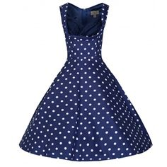 Blue and White Polka Dot Pin Up Dress. Shelf bust circle 1950s style dress. Fitted bodice section and wide flared skirt bottom with hidden side seam pockets. The perfect pin up dress for special occasions or an evening event.