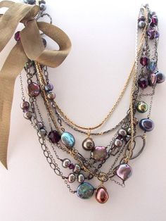 Necklaces. Delicate Multi Strand Tangle Freshwater Pearl and Sterling  Necklace. Vintage Avon. Two-in-One.