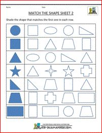 free printable shape worksheets match the shapes 2