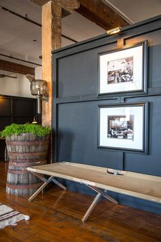 black boiserie with rustic details