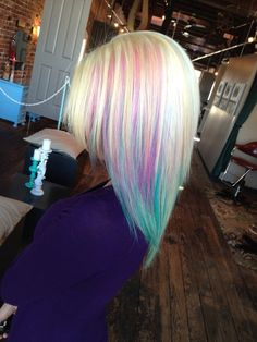 Colorful Hair - @Hilary S S S S S Seymour! <- I would love to do this on my brown hair and it would look baller on your blonde too! -> pehaps we could find extensions? #hair #color #colorfulhair