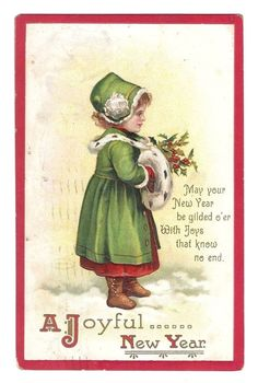 Old  New Year Girl Postcard   International Art Series 1211   PM 1910   Embossed #NewYear