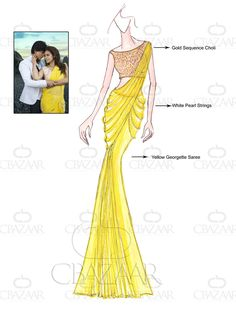 Sarees Online: Shop the latest Indian Sarees at the best price online shopping. From classic to contemporary, daily wear to party wear saree, Cbazaar has saree for every occasion. Dress Design Sketches, Fashion Design Drawings, Fashion Sketches, Fashion Souls, Fashion Art, Fashion Outfits, Fashion Illustration Dresses, Fashion Illustrations, Gown Drawing