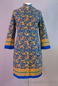 1970s Bohemian Cotton Paisley Coat Dress