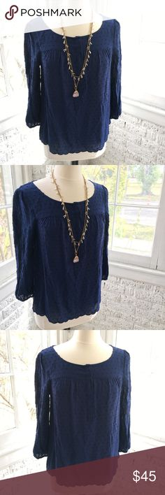 ANTHROPOLOGIE Maeve Swiss dot scalloped top Beautiful Swiss dot top. Gorgeous soft fabric in a beautiful deep blue hue. Sweet scalloped edge on bottom of top. Anthropologie Tops