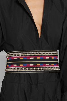 Isabel Marant | Embellished embroidered cotton and leather belt | NET-A-PORTER.COM