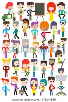 Set of different cartoon characters people, vector illustration by Doggygraph, via Shutterstock
