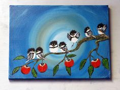 Chickadee Wall Art / Acrylic Painting on Canvas / Apple Tree Bird Home Decor / Whimsical Handpainted Wall Art / Unique Gift Idea Whimsical Christmas Trees, Christmas Tree Painting, Your Paintings, Tree Paintings, The Art Sherpa, Rooster Painting, Wildlife Paintings, Bird Tree, Acrylic Painting Canvas