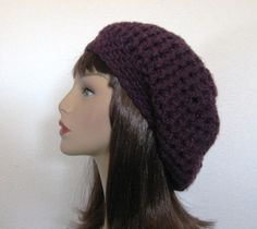 Crocheted Slouch Hat Beanie Cap Slouchy Beret  in  Dark Purple or You Choose Color via Etsy