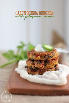 Cajun Quinoa Burgers with Jalapeno Crema