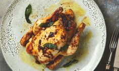 Yotam Ottolenghi's roast poussins stuffed with chestnut, pancetta and pear.