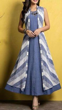 Kurti with jacket Salwar Designs, Kurti Neck Designs, Kurta Designs Women, Dress Neck Designs, Kurti Designs Party Wear, Blouse Designs, Cotton Kurtis Designs, Latest Kurti Designs, Stylish Dresses