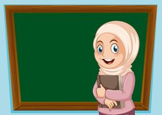 A muslim girl and blackboard banner Premium Vector Teacher Cartoon, Student Cartoon, Student Clipart, Kids Background, Dark Background Wallpaper, Background Banner, Vector Background, Red Wallpaper, Duck Cartoon