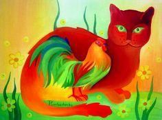 tomcat - Painting,  40x30 cm ©2010 door Tetiana Gorbachenko -  Schilderij, Olie ♥༺❤༻♥