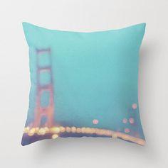 decorative pillow cover, San Francisco Golden Gate bridge throw pillow case, aqua peppermint blue, modern home decor, California