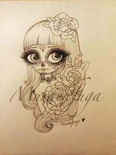 Nuevo diseño de catrina Tattoo versión muñecas rotas por musaenfuga www.musaenfuga.blogspot.com