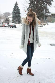 zipped J.Crew coat, JustFab denim, Vans flannel, Trask boots
