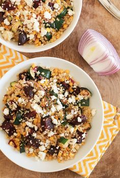 Beautiful Grilled Vegetable Quinoa Salad by @RoastedRoot for Love Beets featuring beets, quinoa and cojita and naturally gluten free.