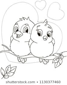 Coloring Page Outline Cartoon Cute Birds Stock Vector (Royalty Free) 1130377460 - kids cartoon Art Drawings For Kids, Art Drawings Sketches Simple, Pencil Art Drawings, Bird Drawings, Cartoon Drawings, Animal Drawings, Easy Drawings, Drawing For Kids, Bird Coloring Pages