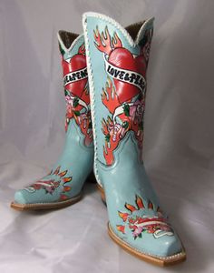 Libertys Love & Peace Hand Painted Blue Cowboy Boots in Clothing, , Womens Shoes, Boots Blue Cowboy Boots, Cowboy Boots Women, Western Boots, Cowboy Hats, Western Wear, Liberty Boots, Boot City, Boot Scootin Boogie, Biker