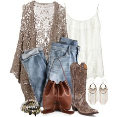 """Cowboy Boots and Jeans"" by terry-tlc on Polyvore"