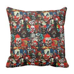 #Scary Circus Buddies Throw Pillow - #Halloween happy halloween #festival #party #holiday