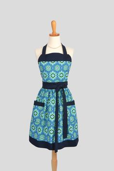 Womens Bib Full Apron / Personalize or Monogram this Classic Womens Handmade Retro Kitchen Apron in Medallions by Amy Butler