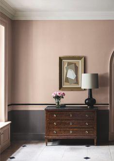 Hallway paint colours: 28 inspiring decorating ideas for enhancing your hallway Hallway Colour Schemes, Hallway Paint Colors, Room Colors, Paint Colours For Hallway, Dining Room Colour Schemes, Pink Paint Colors, Pink Color, Paint And Paper Library, Grey Hallway