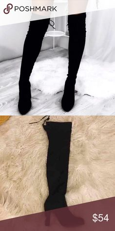 """RESTOCK! Black Suede Over the Knee Boots Available in Sizes 5.5, 6, 6.5, 7, 7.5, 8, 8.5, 9, 10 New in box.  Vegan suede Over The Knee Heeled Boots. Shaft height 26"""" including heel. 14.5 top opening circumference, 4 inch heel. Stays up while walking! I own a pair myself and I'm absolutely in love with them! Amazing boots!  ✔️Bundle discount: 10% off 2+ items.  ❌No trades clmayfae Shoes Over the Knee Boots"""